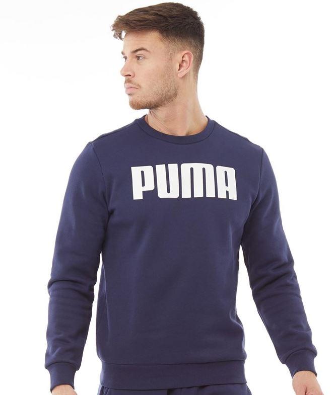 Puma Herren Essentials Big Logo Sweatshirt Navy
