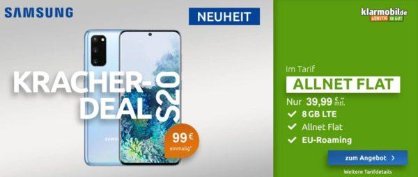 Samsung Galaxy S20 128GB LTE Gray Klarmobil Allnet Flat 8 GB mit Top Smartphone
