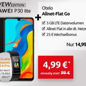 TOP 📱 D2 Allnet-Flat mit 5GB LTE + Huawei P30 lite NEW + Band 4 Pro