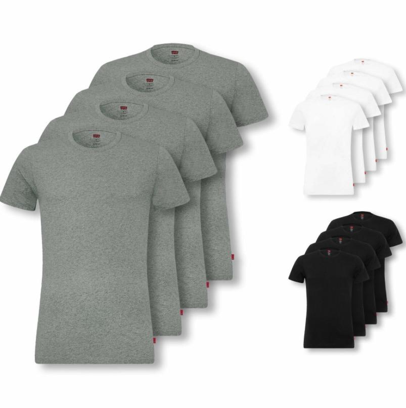 4er Pack Levis Herren Shirts kurzarm Crew Neck V Neck T Shirts Stretch Cotton