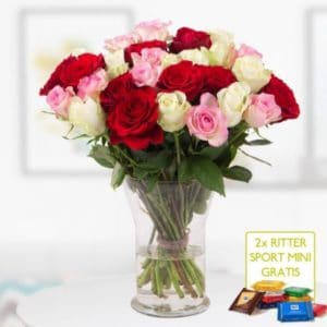 Gemischter Rosenstrauß mit 2 gratis Mini Schokis