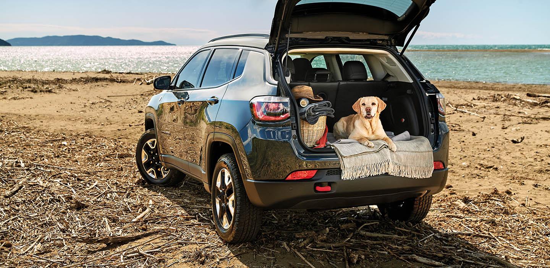 Jeep Compass am Strand. Im Kofferraum passen 2 Golden Retriever rein. Und Gepäck.