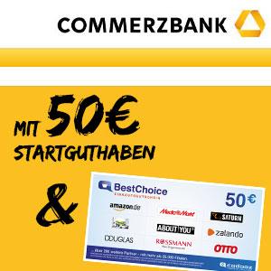 50€ Startguthaben + 50€ Gutschein 🤑 für das Commerzbank Girokonto