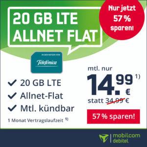Bestpreis 😎 20GB LTE + o2 Allnet-Flat für 14,99€ mtl. (ohne Laufzeit)