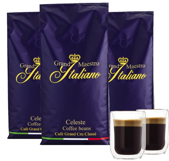 Grand Maestro Italiano Celeste Kaffeebohnen 3 kg  2 doppelwandige Kaffeeglaeser 260 ML