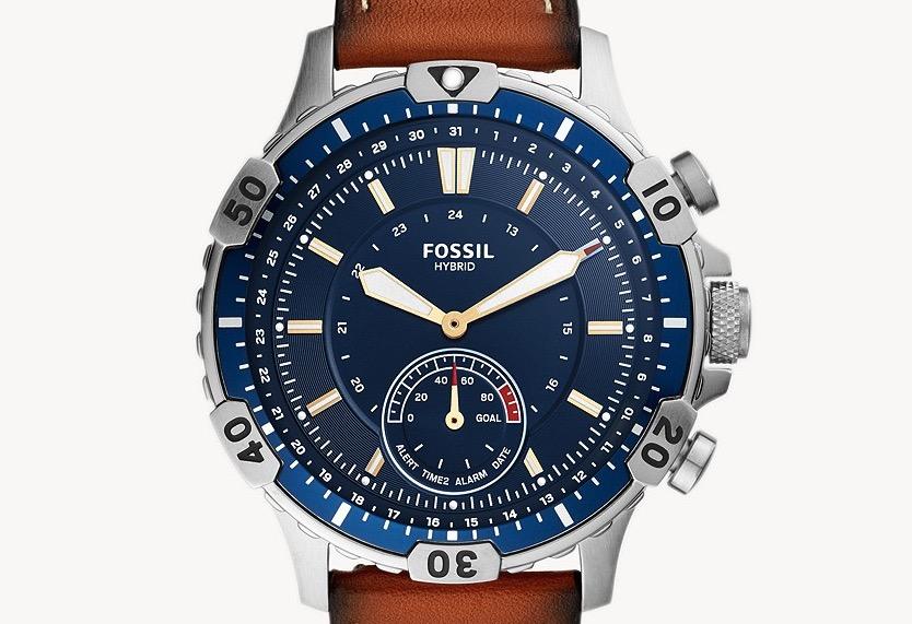 Herren Hybrid Smartwatch Garret Leder Braun 1