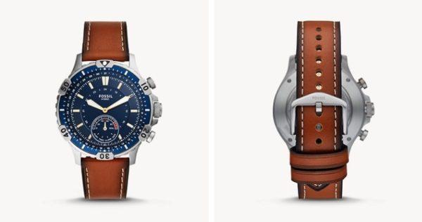 Herren Hybrid Smartwatch Garret Leder Braun