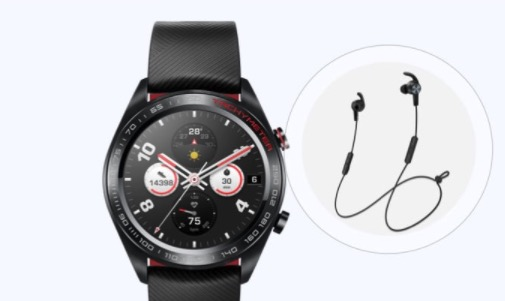 Honor Watch Magic mit Earphones und mehr