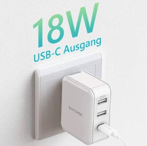 RAVPower USB C Ladegeraet mit 18W  Power Delivery 3.0