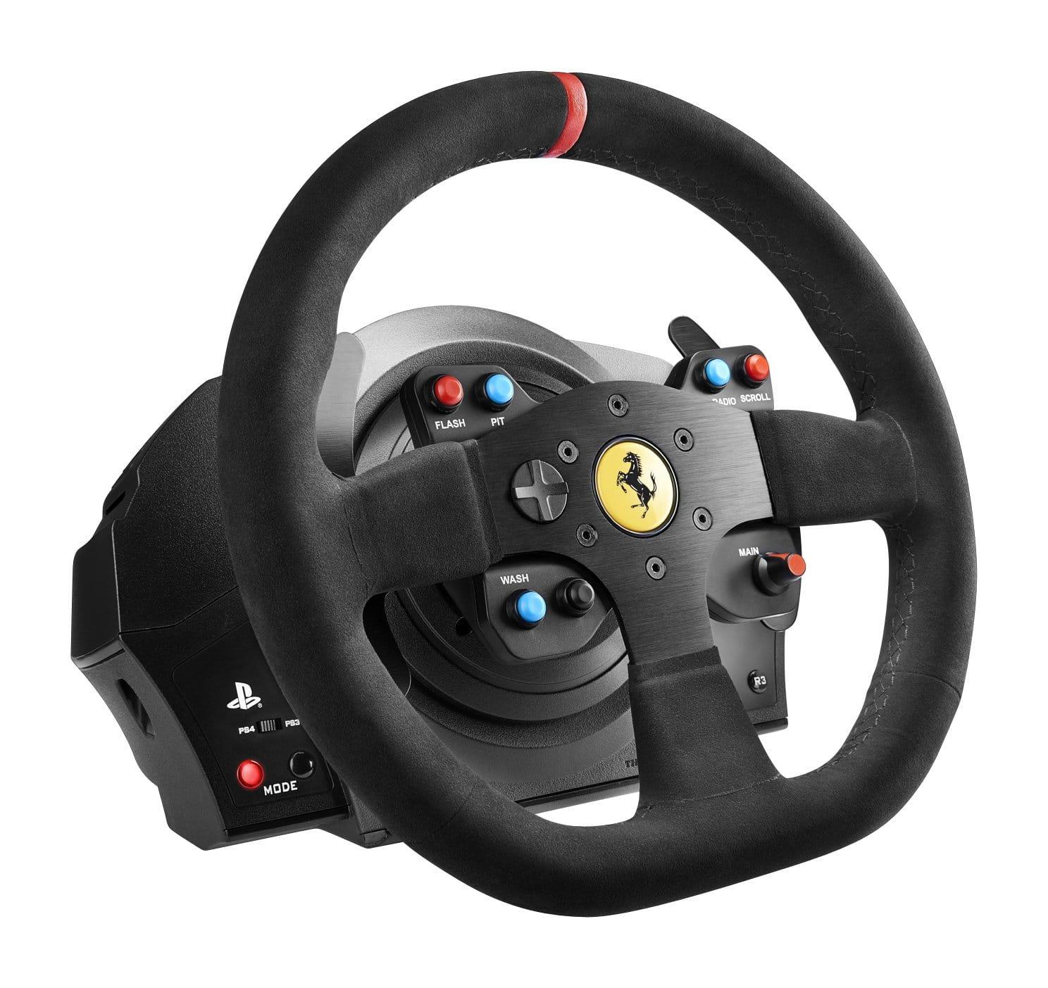 Force-Feedback-Rennsimulator der nächsten Generation für PlayStation4 und PlayStation3 (auch PC-kompatibel) - Komplettes Sammler-Paket! - Abnehmbarer Rennlenker Ferrari 599XX EVO (30 cm mit Alcantara), T300 SERVO BASE, T3PA 3-Pedal-Set DER abnehmbare Replika-Rennlenker des Ferrari 599XX EVO - 8:10-Replika des 599XX EVO-Lenkrads, offiziell von Ferrari lizenziert ; Handvernähter Überzug aus dem gleichen Alcantara-Material wie bei den echten Ferrari-Lenkrädern (Import aus Italien) Struktur des Lenkrads entspricht realen Automobilstandards, mit zentraler Steuerplatte aus gebürstetem Metall und einem Gewicht von weniger als 1,2 kg (blitzschnelle Force-Feedback-Ansprache) T3PA 3-Pedal-Set; Pedale und interne Bauteile 100% Metall; Conical Rubber Brake MOD inklusive (mit ultra-progressiver Druckkraft am Ende des Bremspedalwegs); 3 vollständig justierbare Pedale (Abstand, Neigung und Höhe) Kompatibel mit weiteren Thrustmaster-Produkten : T3PA PRO* Pedalset, TH8A* Gangschaltung, weitere abnehmbare Thrustmaster-Rennlenker* * Separat erhältlich