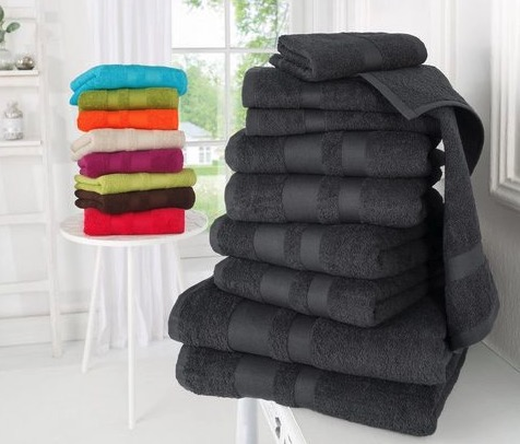 my home Handtuch Set Vanessa Set 10 tlg mit abgesetzter Borduere
