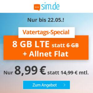 P/L-Tipp 🤩 8GB LTE Allnet-Flat für 8,99€ (ohne Laufzeit, Drillisch o2)