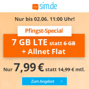 P/L-Tipp 🤩 7GB LTE Allnet-Flat für 7,99€ (ohne Laufzeit, Drillisch o2)