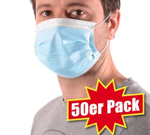 50er Pack Einweg Mund Nasen Schutzmasken