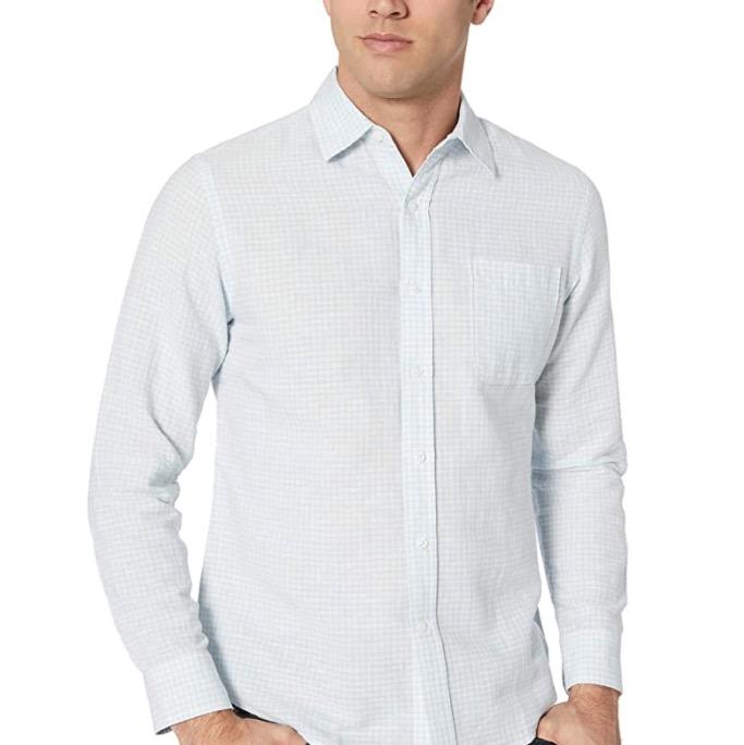 Amazon Essentials Herren Leinenshirt Langarm Shirt schmale Passform gestreift