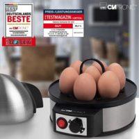 Clatronic 263 118 EK 3321 Eierkocher mit Haertegradeinstellung 7 Eier 400 Watt inox