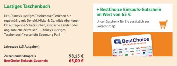 Lustiges Taschenbuch  65  BestChoice Gutschein