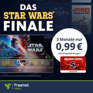 📺🪐 Star Wars 9 für 0,99€ + 5€ MM-Gutschein + 3 Monate freenet video
