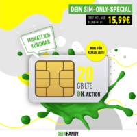 quad MAR 8489 FB SP   Sim Only DH Aktion 20 GB fuer 1599