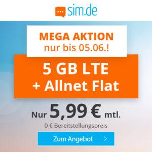 Nur noch heute 🤩 5GB LTE Allnet-Flat für 5,99€ (ohne Laufzeit, Drillisch o2)