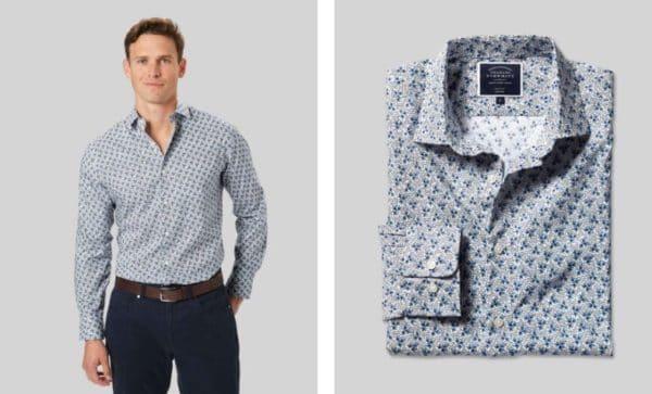 Charles Tyrwhitt Classic Slim Hemd mit Blattmotiv