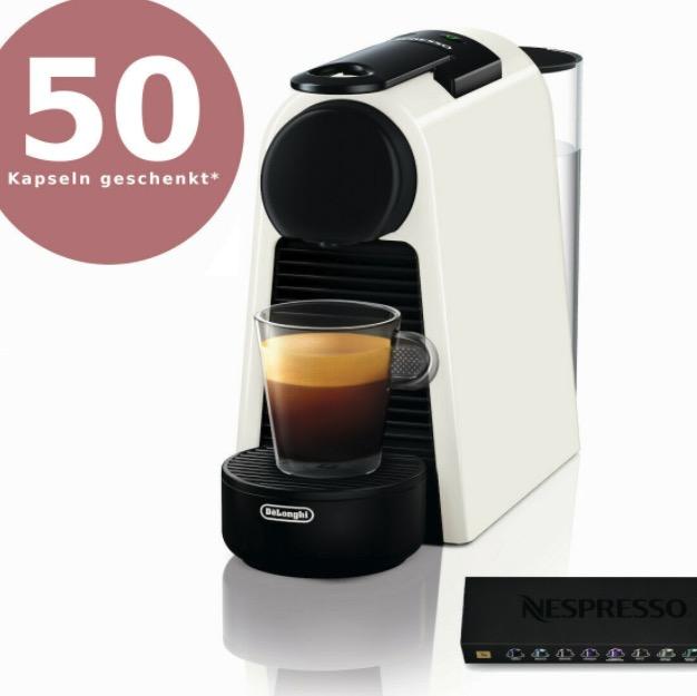 DELONGHI Essenza Mini EN85.W Nespresso Kapselmaschine  Gutschein 50 Kapseln