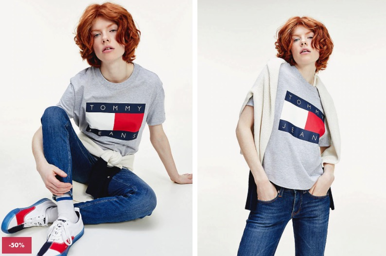 TOMMY FLAG CROPPED FIT T SHIRT