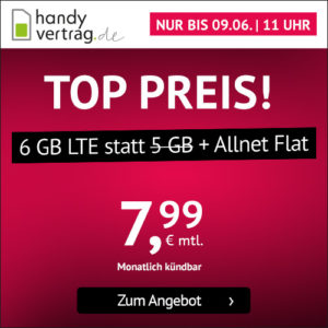 P/L-Tipp 🤩 6GB LTE Allnet-Flat für 7,99€ (ohne Laufzeit, Drillisch o2)