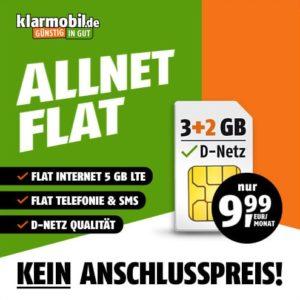 Telekom-Netz 📴 Allnet-Flat mit 5GB LTE für 9,99€ mtl. (ohne AG, Bestpreis)