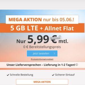 P/L-Tipp 🤩 5GB LTE Allnet-Flat für 5,99€ (ohne Laufzeit, Drillisch o2)