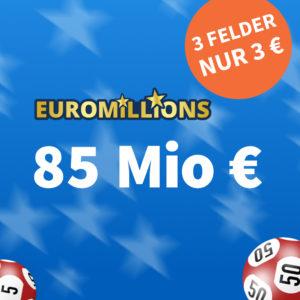 85 Mio € im Jackpot 🍀 z.B. 7 Felder EuroMillions nur 17€ // Gratis-Tipp für NK usw.