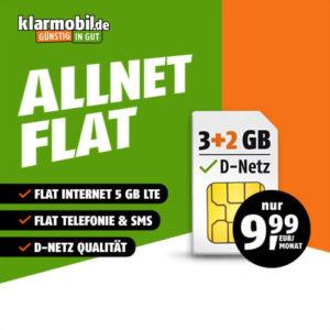 Telekom-Netz 📴 Allnet-Flat mit 5GB LTE für 9,99€ mtl.
