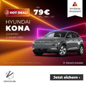 TOP⚡️ Hyundai Kona Elektro (136 PS) für 79€ mtl. (Privat-Leasing)