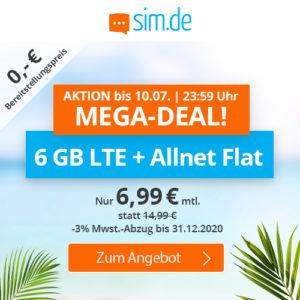 🤩 6GB LTE Allnet-Flat für 6,99€ mtl. (ohne Laufzeit, Drillisch o2)