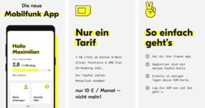 1 Monat gratis  fraenk 4GB LTE Allnet Flat im Telekom Netz mtl. kuendbar