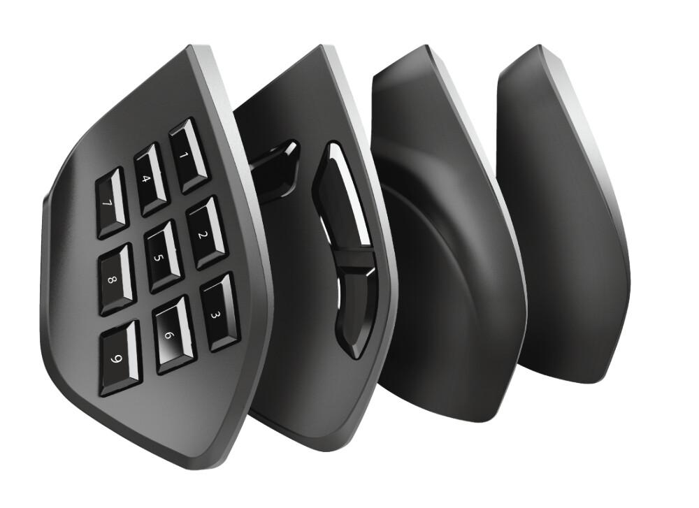 TRUST GXT 970 Morfix Gaming-Maus (Kabel, RGB-Beleuchtung, austauschbaren Seitenplatten, programmierbar, 10000 DPI)