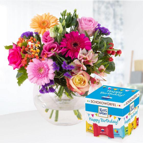 Blumenstrauss Kunterbunt  Schokowuerfel Happy Birthday