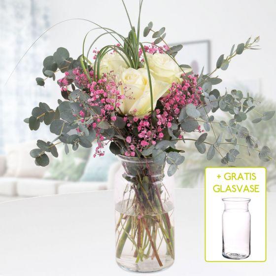 Blumenstrauss Liebesgruss  gratis Glasvase