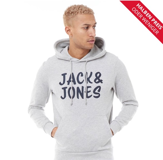 JACK AND JONES Herren Corp Kapuzentop Hellgraumeliert