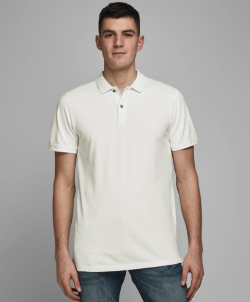 Jack  Jones JJEJEANS WASH POLO SS CAMP cloud dancer