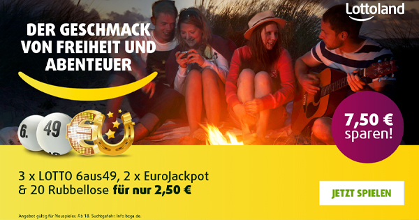 Lottoland   3 Felder Lotto 6aus49  2 Felder EuroJackpot  20 Rubbellose Neukunden