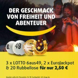 Lottoland: 3 Felder Lotto 6aus49 + 2 Felder EuroJackpot + 20 Rubbellose (Neukunden)