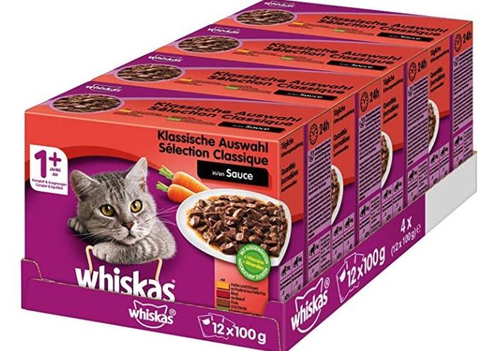 Whiskas 1  Katzenfutter  Hochwertiges Nassfutter fuer gesundes Fell  Ausgewogenes Feuchtfutter in verschiedenen Geschmacksrichtungen
