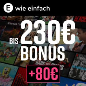 Strom/Gas bei E WIE EINFACH ⚡ 143,88€ NETFLIX Gutschein + 80€ Bonus