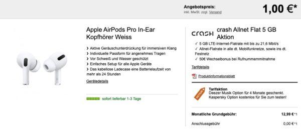 Apple AirPods Pro In Ear Kopfhoerer Weiss crash Allnet Flat 5 GB Aktion
