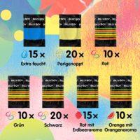 Billy Boy Kondome Mix-Sortiment Großpackung, Farbige, Extra Feucht und Perlgenoppte, 100er Mix-Pack