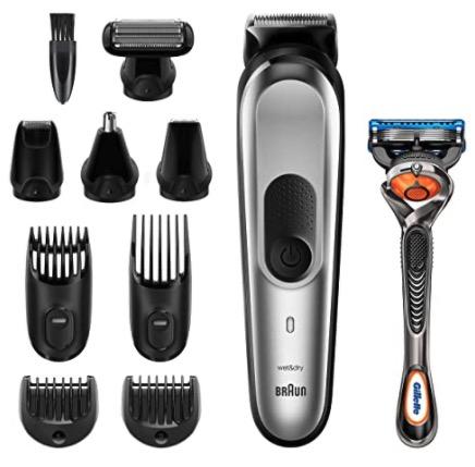Braun 10 in 1 Trimmer MGK7220 Herren Barttrimmer Bodygrooming Set und Haarschneider grausilber