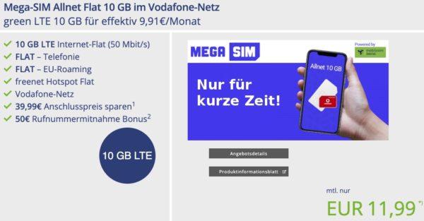 Mega SIM Allnet Flat 10 GB im Vodafone Netz