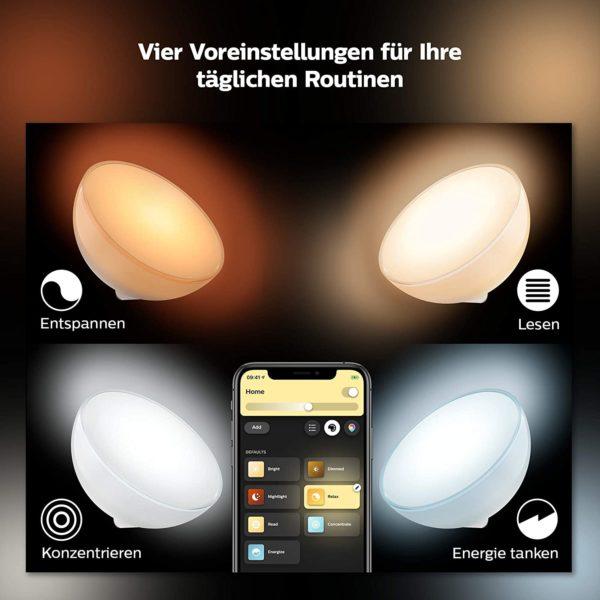 Einfache Einrichtung per Bluetooth: Tischleuchte mit integriertem Leuchtmittel platzieren, Hue Bluetooth App downloaden und schon können Sie Ihr Licht in einem Raum dimmen oder Lichtszenen einstellen