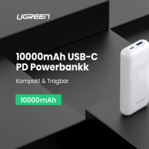UGREEN Powerbank 10000mAh USB C Powerbank Power Delivery 18W Externer Akku kompatibel mit iPhone 11 11 max X XS XR 8 7 Samsung S10e S10 S9 S8 A50 A20e iPad Pro 2018 usw.